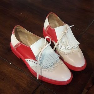 FRATELLI ROSSETI PINK, RED, AND CREAM OXFORD SHOES